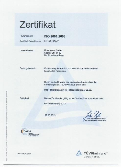 ISO-Zertifikat Koschaum GmbH